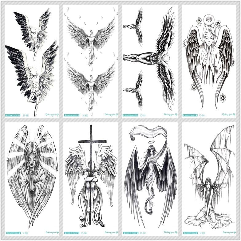 Rocooart Sketch Angel Fake Tattoo Cross Wings Large Taty Men Temporary Tattoo Sticker For Body Art Tatouage Temporaire Female
