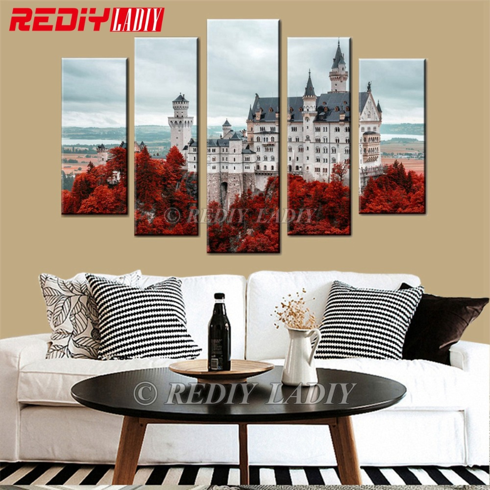 Diamond Painting Triptych Full Square Diamond Embroidery Castle 5 Panels Modular Picture Wall Art Rhinestones Cross