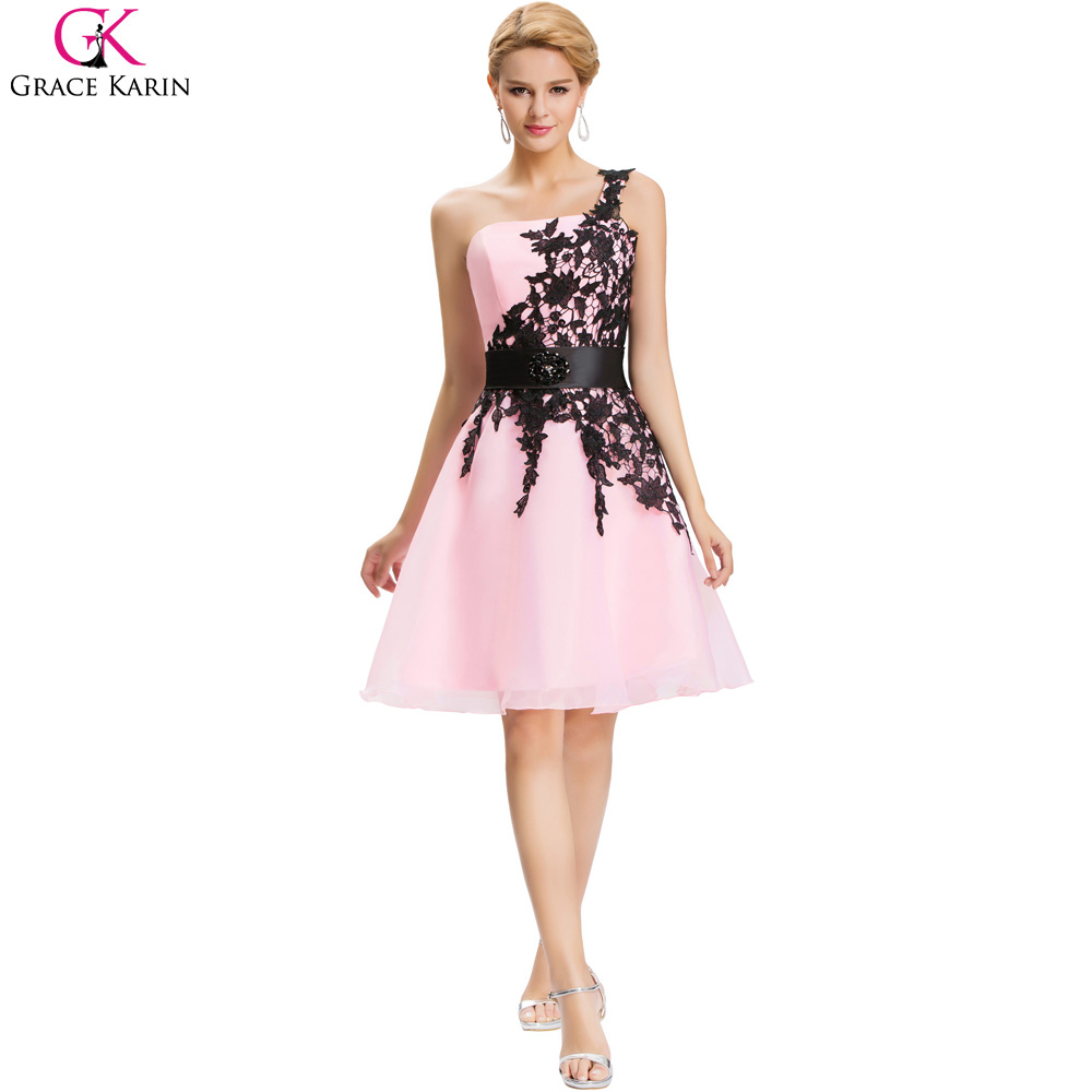 Online buy wholesale short black bridesmaid dresses from china short cheap bridesmaid dresses under 50 grace karin one shoulder white blue pink black lace knee ombrellifo Image collections