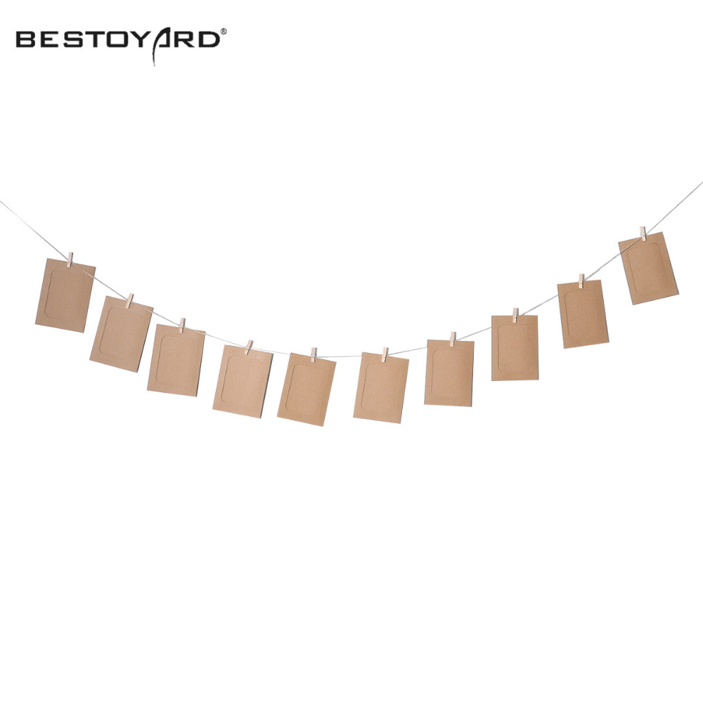 10pcs Diy 6inch Hanging Album Clip Kraft Paper Photo Frame Strings Rope  Clips Sets For Wedding Party Home Wall Decoration