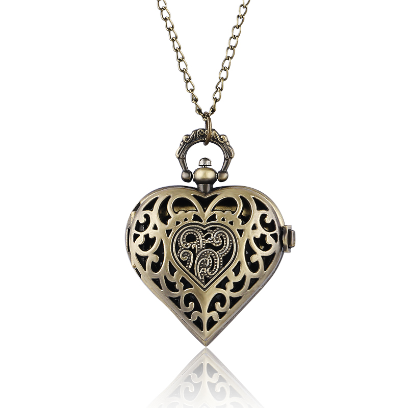 Bronze Copper Steampunk Hollow Quartz Heart-shaped Pocket Watch Necklace Pendant Chain Women Ladies Girl reloj de bolsillo P71 black star wars galactic empire badge pattern quartz pocket watch with key chain male female clock reloj de bolsillo masculino