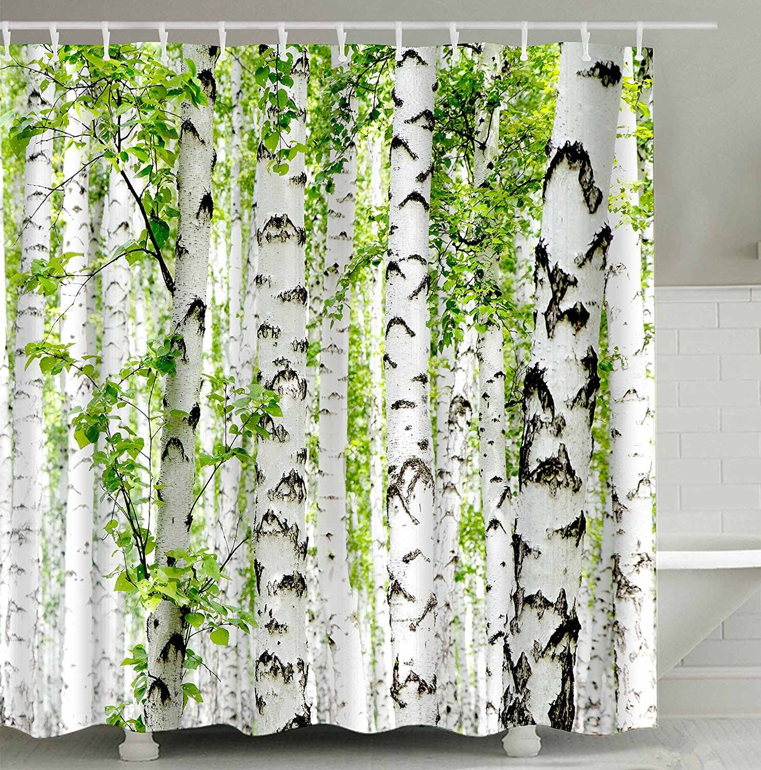 Birch Tree Forest Branch Leaves Waterproof and Mildew Resistant Fabric Bathroom Shower Curtain White Green Brown