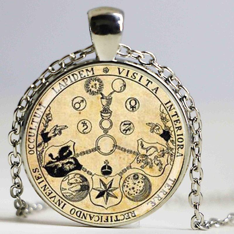 vânzare la cald rosicrucian trandafir magic alchimic ermetic oculte tipărit antic ilustrare poster bijuterii de modă