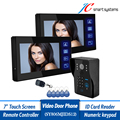 """Home Secure 7"""" Monitor Wired Doorbell Camera Intercom Outdoor System With 2 Indoor Monitors For Door Access Control"""