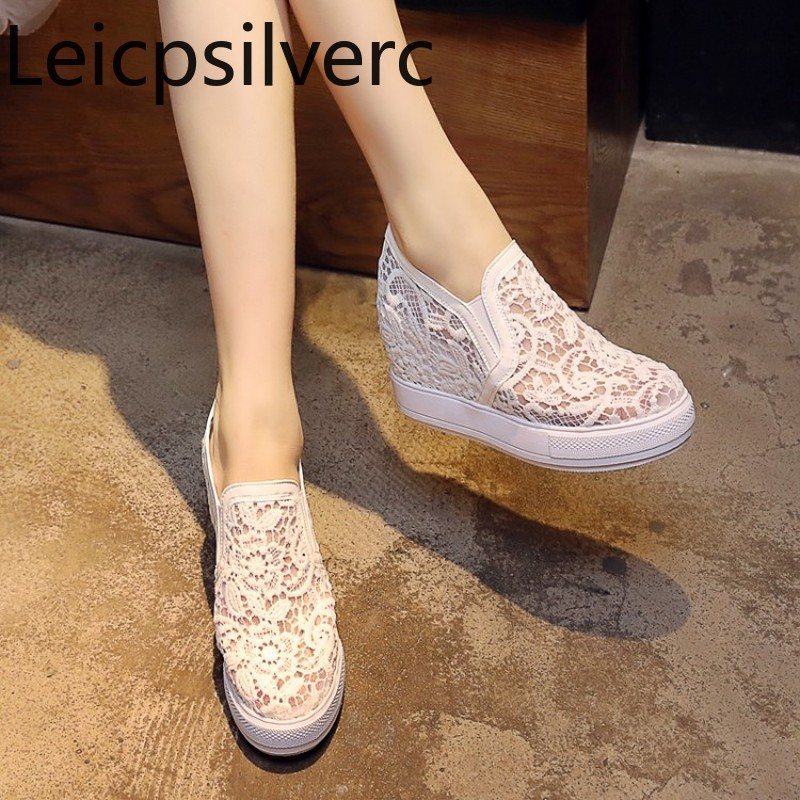 Pumps Spring and autumn The New fashion Round head Lace Mesh Low-heeled Increased Internal Womens shoes plus size 32-45Pumps Spring and autumn The New fashion Round head Lace Mesh Low-heeled Increased Internal Womens shoes plus size 32-45