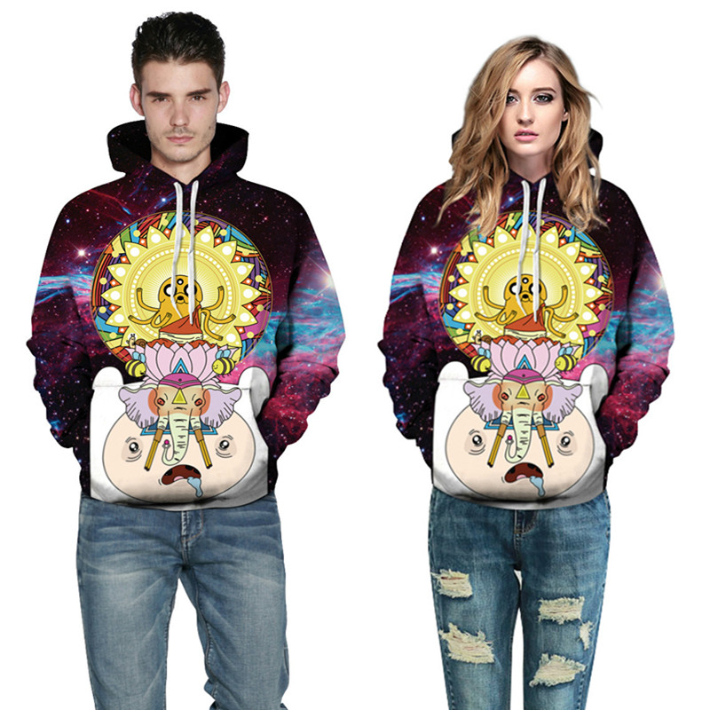 Women/mens Sweatshirts 3d Printed Cartoon Adventure Time Sky Funny Hoodies Hip Hop For Men Boys Fashion  Plus Size S-3XL