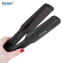 Black KM-329 Professional Tourmaline Ceramic Heating Plate Hair Straightener Styling Tools With Fast Warm-up Thermal Performance