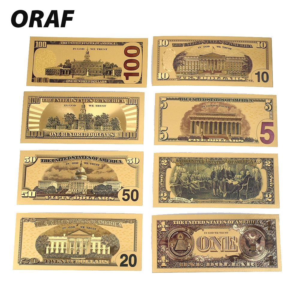 8 Uds 1/2/5/10/50/100/20 billetes falsos de oro de EE. UU. 100 billetes de banco nota en chapado en oro 24K moneda falsa dinero