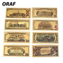 Billetes falsos de 1/2/5/10/50/100/20, billetes de banco de oro de EE. UU., billetes de banco de 100, billetes de banco en oro de 24K, 8 Uds.
