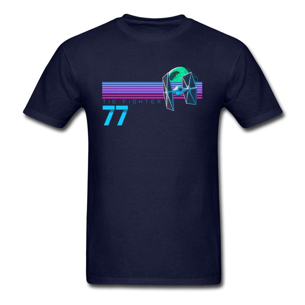 Прочный Шарм Звездные войны Спортивная футболка Tie Fighter And Death Star Футболка мужская хип хоп 80 s футболка с изображением неоновой черной одежды - Цвет: Navy Blue