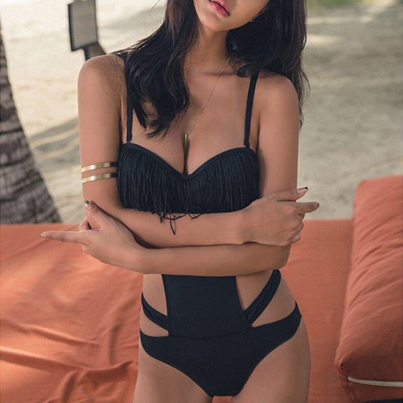 Women One Piece Swimsuit Tassels Hollow Monikini Backless Padded Beach Wear Swimwear Bathing Suit YS-BUY 3