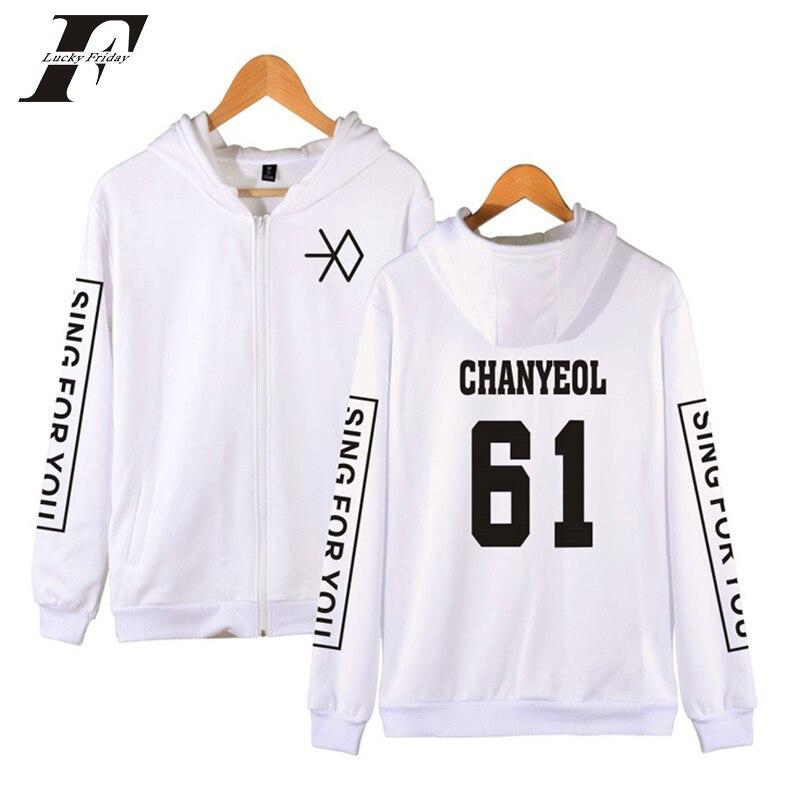 2018 Zipper Clothes EXO Hip Hop Hooded oversized hoodies Sweatshirts women men XIUMIN CH ...