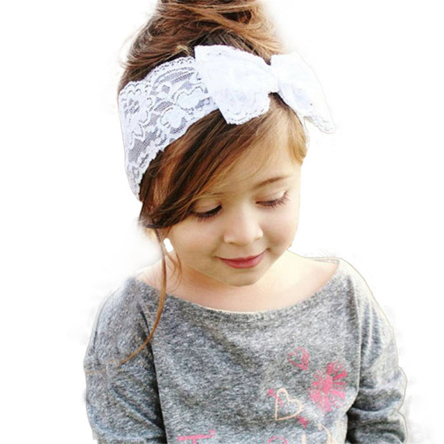 Headband Girls New Fashion Lace Big Bow Hair Band Baby Head Wrap Band  Accessories Gift for Girls Bandeau Bebe Free Shipping MM5 0a8ef310ed6