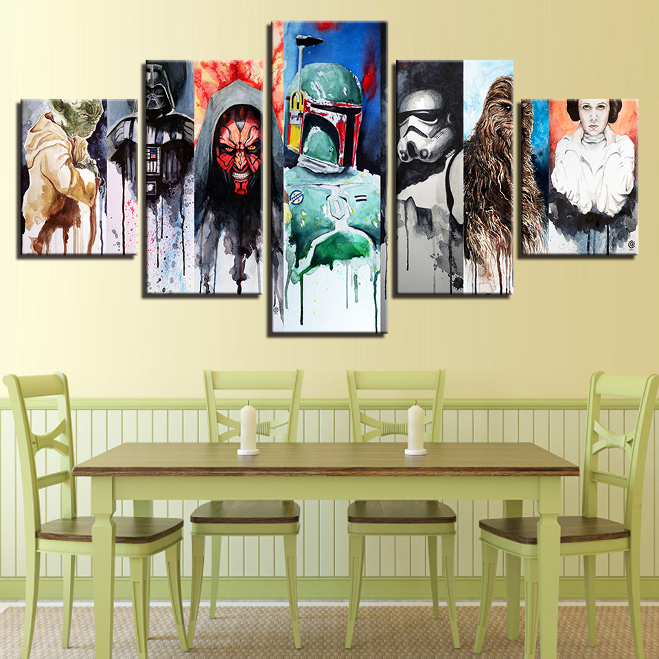 Canvas Wall Art Pictures Home Decor Living Room 5 Pieces Star Wars ...