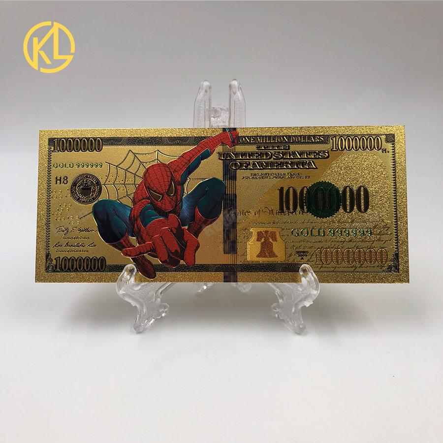 1 pc idéias de presente para crianças 1000000 dólar dos eua colorido ouro cédula banhado a ouro nota nota de dinheiro americano tamanho original