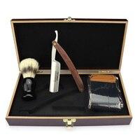Japan 440c Barbershop Professional Face Razor for Women Kit Straight Razor Brush Shaving Brush fold kinfe Wooden Box Best Gift