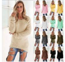 2019 women sweaters and pullovers Autumn Winter Womens O-Neck Sweater Female Hedging Loose Pullover Casual Solid Sweaters soft