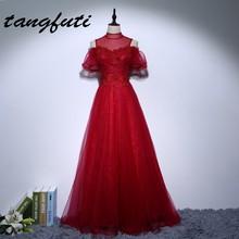 Anyuka a menyasszonyi ruhák gyöngyökkel Csipke A vonal magas nyakú Formális ruha Hosszú új érkezés Custom Made Női fél ruha