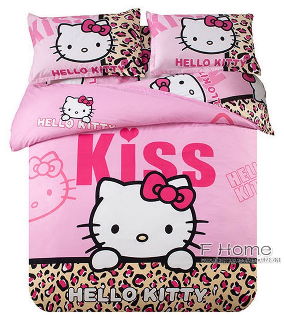 Pink leopard print bedding - Pink Leopard Print Hello Kitty Kiss Bedding Set Cotton Comforter Sets Girls Children Duvet Cover Bedskirt And Mattress Cover In Bedding Sets From Home