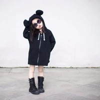 Autumn Kids Hooded Jacket Tops Coat Solid Black Collar 3D Cartoon Hoodies Good Quality Special Customization