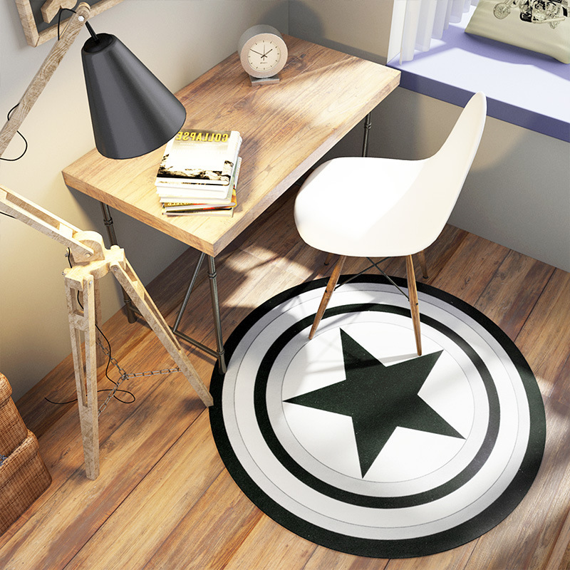 Captain America Shield Round Mat Rugs and Carpet Black Five Star Alfombras Bedroom Living Room Carpet Creative Home Decoration