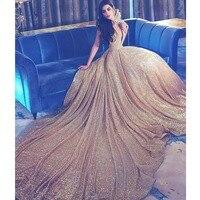 Великолепная блесток золото Для женщин торжественное платье Бальные платья индивидуальный заказ открытой спиной длинным шлейфом платье м