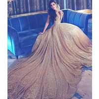Gorgeous Sequin Gold Women Formal Dress Ball Gowns Custom Made Open Back Long Train Maxi Gowns for Prom Evening Party Celebrity