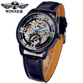 Fashion WINNER Men Luxury Brand Skeleton Roman Number Leather Watch Automatic Mechanical Wristwatches Gift Box Relogio Releges
