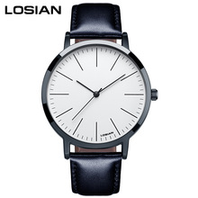 LOSIAN Mens Watches Fashion Brief Trend Gormment  Scale Waterproof Quartz Watch