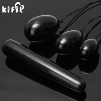 KIFIT 1Set Natural Black Obsidian Yoni Egg With 110mm Massage Stick Massage Ball For Exercise Muscle