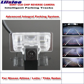 Liislee Intelligent Parking Tracks Car Rear Camera For Nissan Altima / Latio / Maxima Backup Reverse / NTSC RCA AUX HD SONY