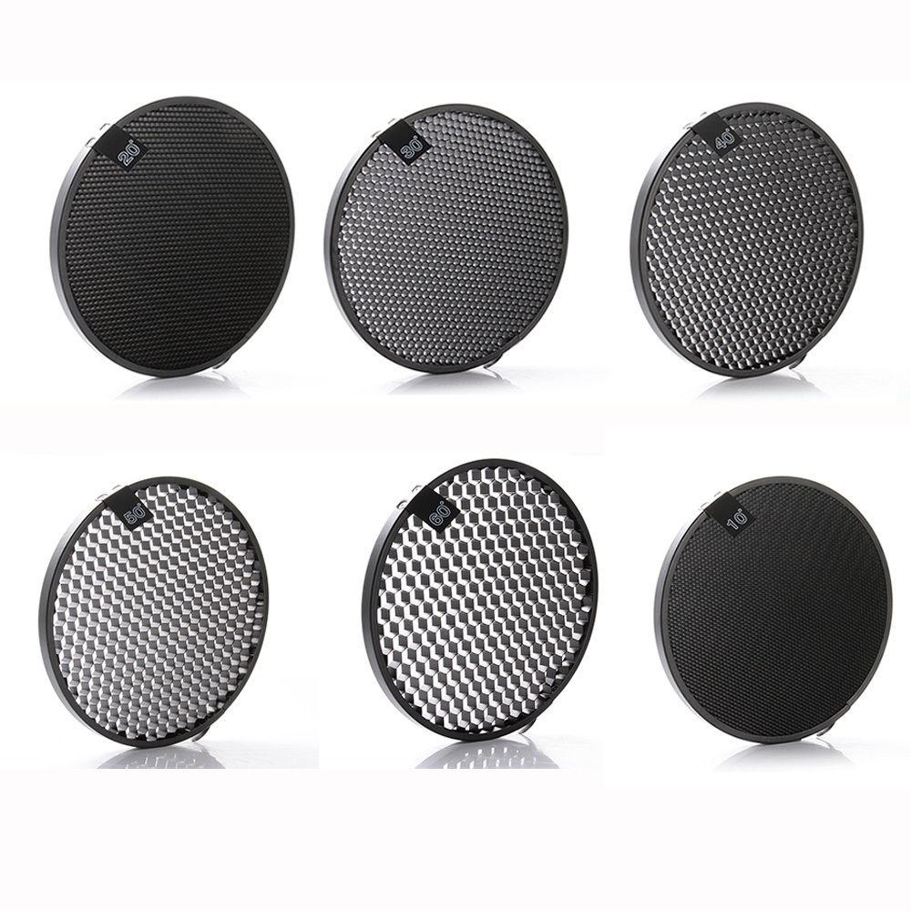 7 Reflector Diffuser Lamp Shade + 10/20/30/40/50/60 Degree Honeycomb Grid for Studio Photography Flash