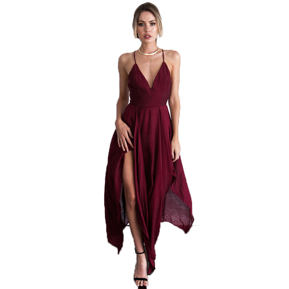 cross back new burgundy wedding guest dresses front split