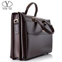 YINTE Бизнес Для Мужчин's Портфели кожа 14 дюймов Сумка для ноутбука Высокое качество посланник большой Ёмкость Для мужчин сумки портфель T8182 3