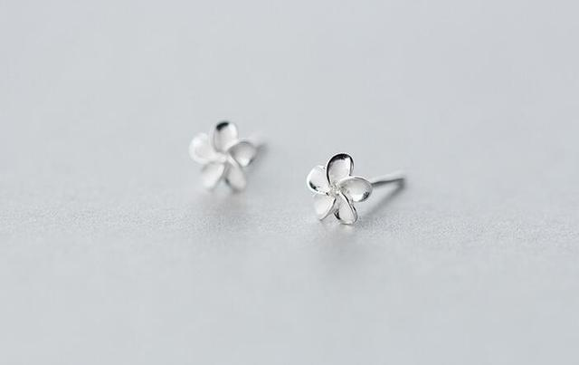 6mm Small Tinny Whole Genuine 925 Sterling Silver Jewelry White Enamel Hibiscus Flower