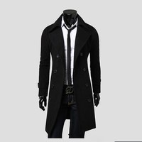 2017 New Arrival Autumn Trench Coat Men Brand Clothing Fashion Mens Long Coat Top Quality Cotton
