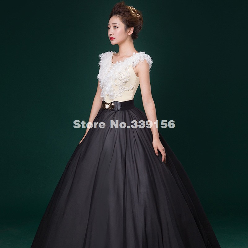 Sweet Balck White Sleeveless Lace Appliques Ball Gown v neck Stage Show  Host Marie Antoinette Dresses-in Dresses from Women s Clothing on  Aliexpress.com ... 77139fe47