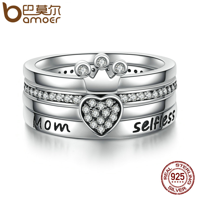 BAMOER 925 Sterling Silver Stackable Heart ,Crown ,Selfless Mom Ring for Women Clear CZ Authentic Silver Jewelry Gift SCR028