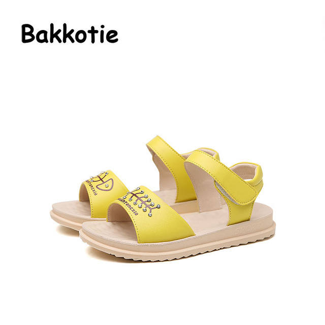 36c3c4d51d4bd Bakkotie 2017 Summer PU Leather Baby Girl Casual White Shoes Leisure Beach  Sandals Rhinestone Comfort Kid Pink Child Fish bone