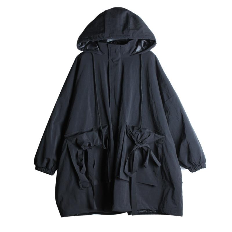 Veste Lâche À Tendance Noir Black Femmes Capuchon Hiver ligne Parka Épais Nouveau Longues Dames Casual Mode Manteau A 2019 Chaud Manches Z401 nwPq6p4