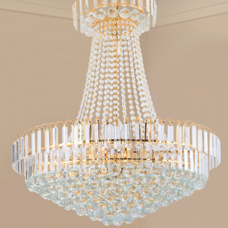 Golden Crystal Light Round LED Luster chandelier Luxury Hotel Villa Duplex Stair lamps Chandeliers lighting fixture in Chandeliers from Lights Lighting