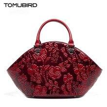TOMUBIRD new Superior cowhide leather-based Embossing Flower model ladies Tote trend Luxury ladies real leather-based purses
