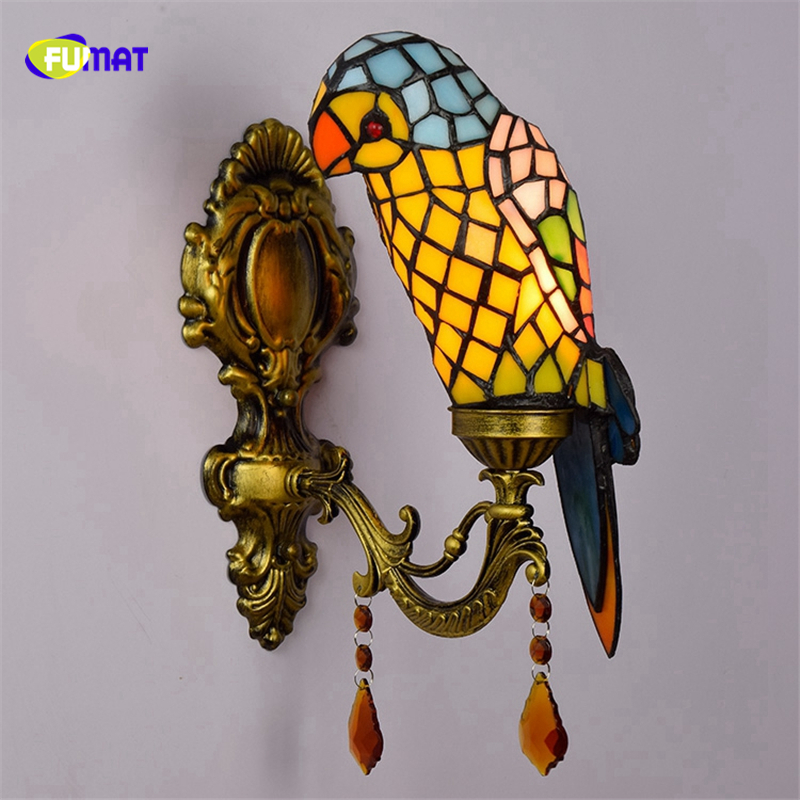 все цены на FUMAT Tiffany Wall Lamp Stained Glass Single Parrot Lighting Fixture Creative Art Wall Sconces Bedside Light LED E27 Wall Light