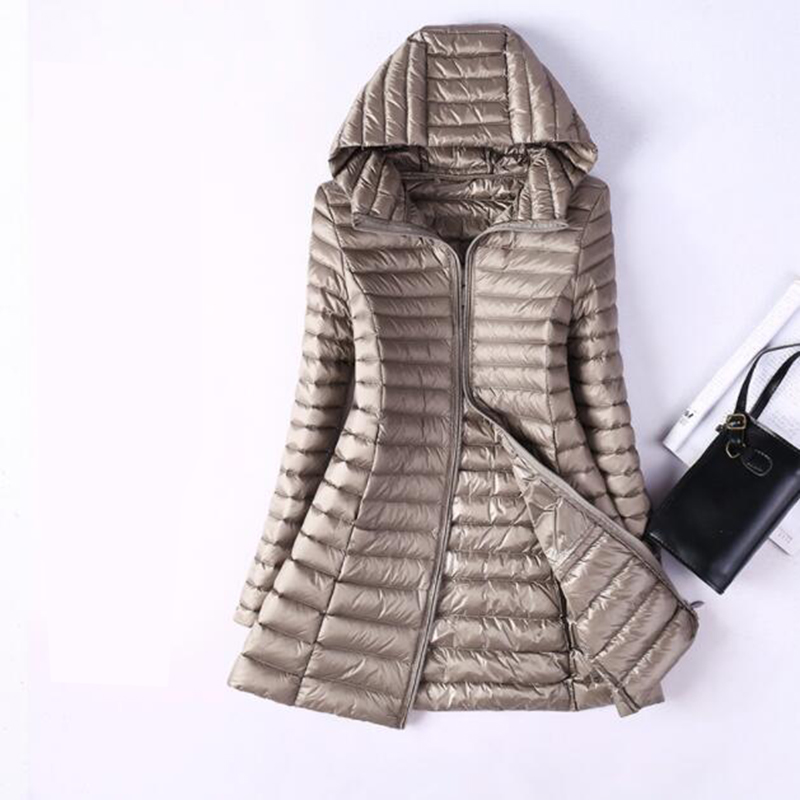 Winter Women Ultra Light   Down   Jacket Medium Long 2018 Thin 90% Duck   Down   Hooded Jackets Long Sleeve Slim   Down     Coat   Parka