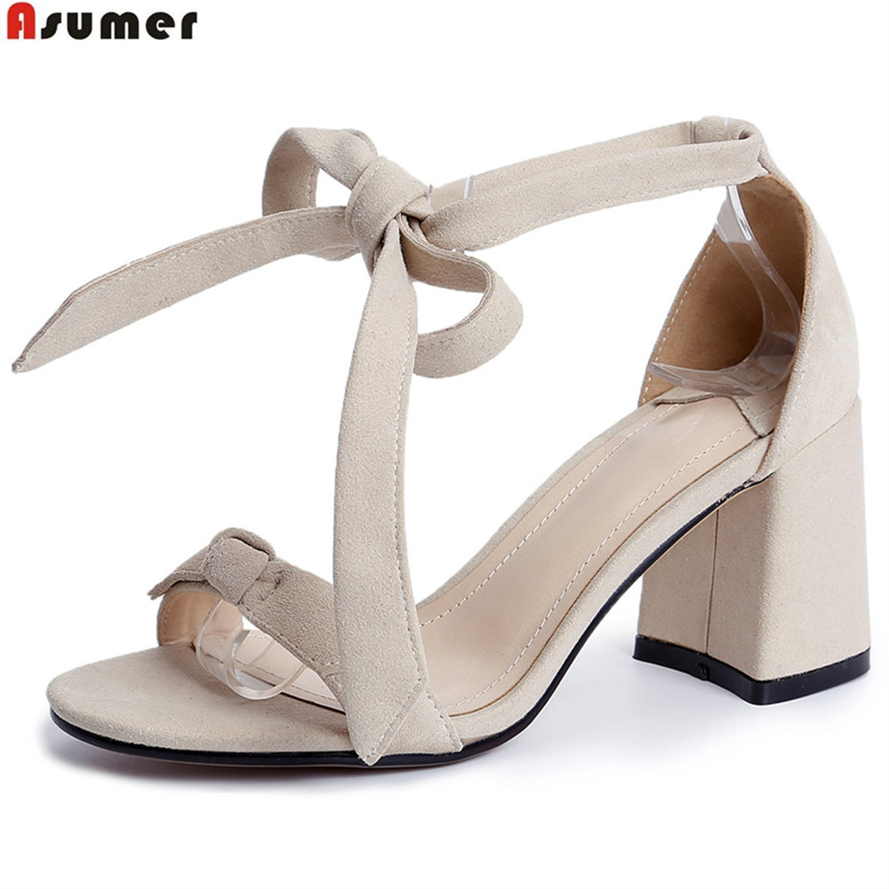 ASUMER black pink Nude color fashion summer ladies shoes square heel cross tied women kid suede high heels sandals size 34-43 asumer black apricot fashion summer ladies shoes cross tied peep toe high heel sandals shoes elegant wedding shoes thick heel