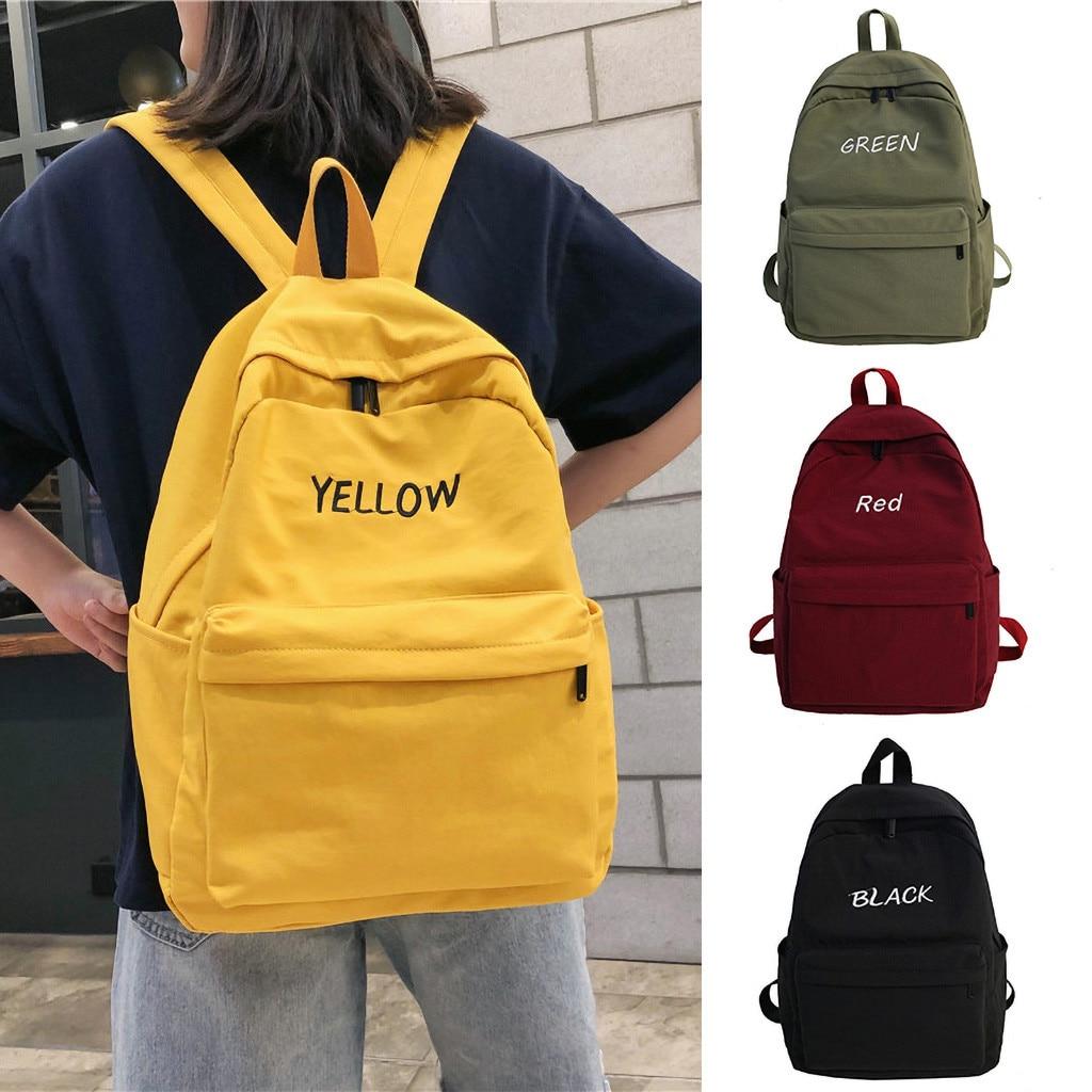 2019 New Design Large Capacity Solid Color Waterproof Nylon Casual Backpack School Bag Mochilas Feminina Bagpack Mochila Mujer