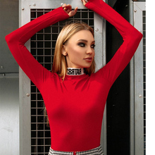 InstaHot Cotton Letter Print Turtleneck Bodysuits Women Mock Neck Autumn Bodycon Tops Playsuits Elastic Party Fashion Blouse