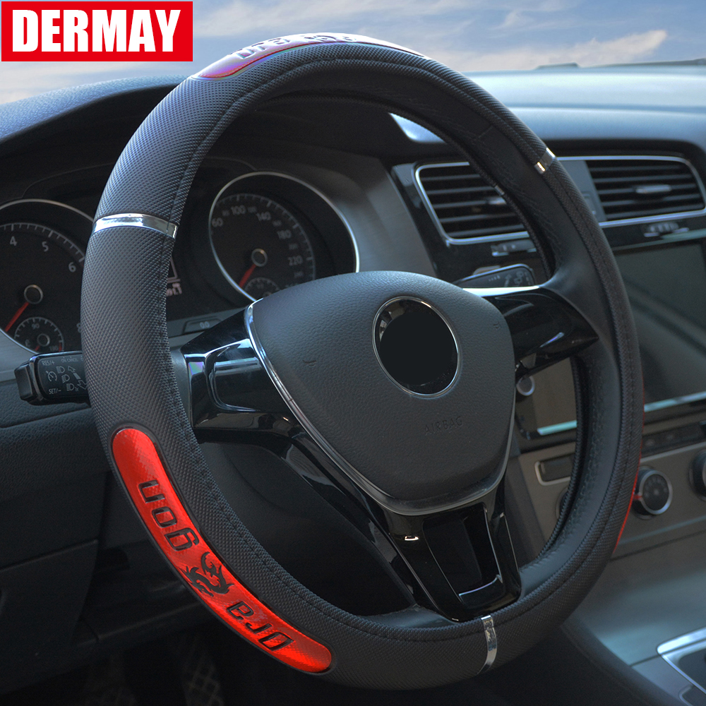 "Free Shipping Hot Sell Drangon Design Leather Auto Car Steering Wheel Cover 38CM/15""  Anti-catch Holder Protector"