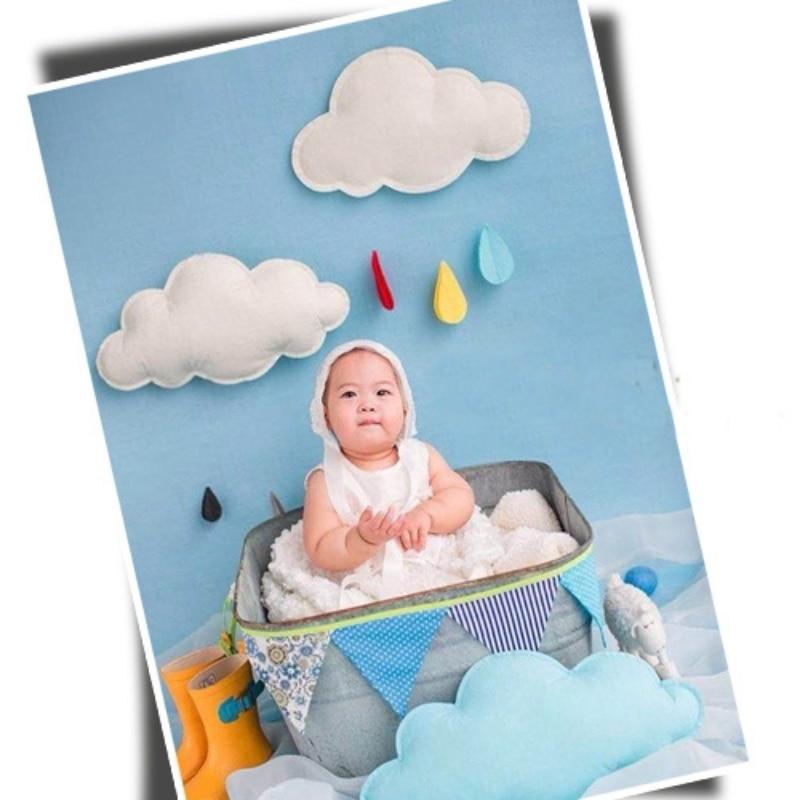 Baby Fotografi Baggrund Props Skyer Regn Håndlavet Spædbarn Foto rekvisitter Baby Kostume Foto Outfit Hjorte Skildpadde Hat Cloak