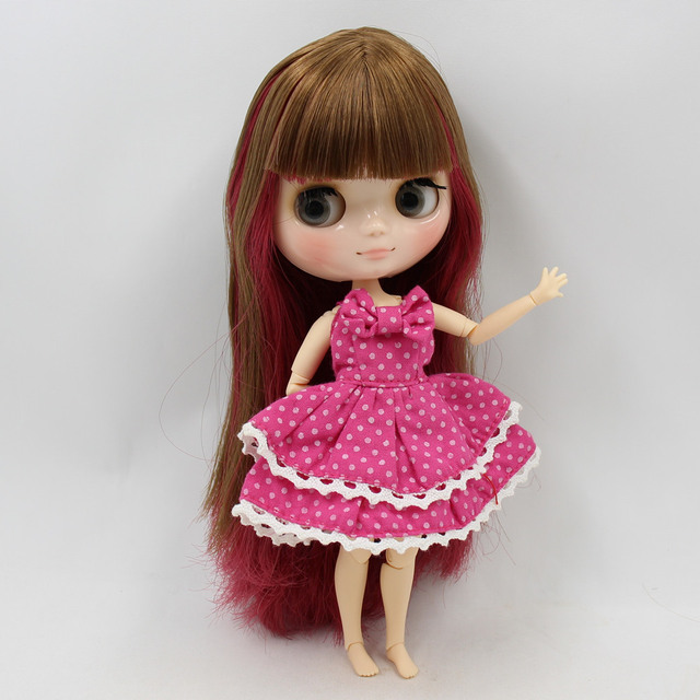 Middie Blyth nude doll wine red mix brown hair gray eyes Transparent face JOINT body ICY gift No.BL0623/2436